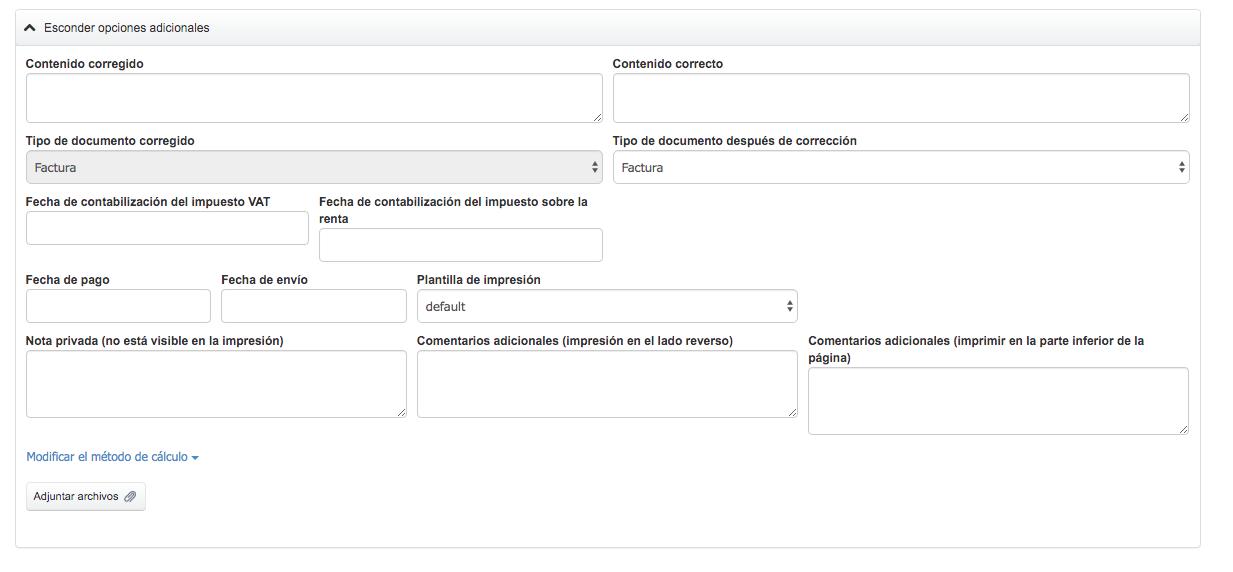 formulario de factura rectificativa