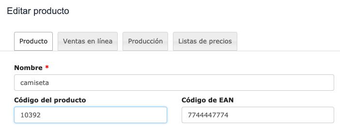código del producto