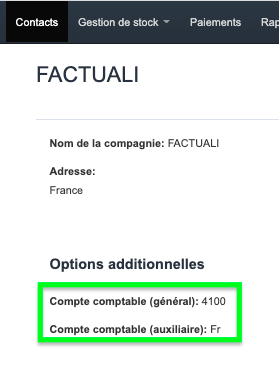 Factures & Exports - Automatiser Compte Comptable Client exemple