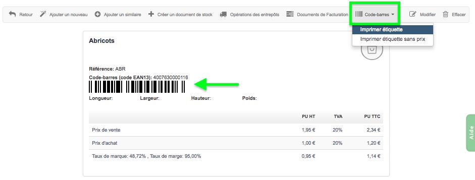 code barre étiquette produit