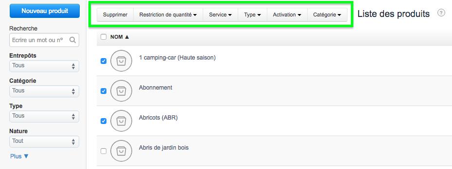 liste produits services menu