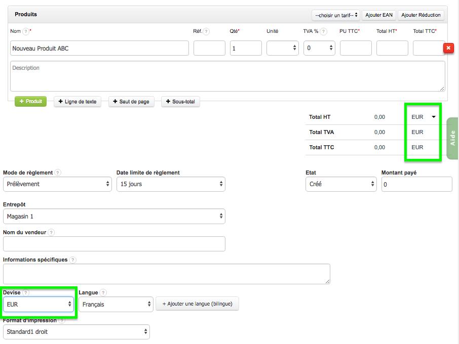 Devise du Produit Service COmpte Option VosFactures.fr Facturation