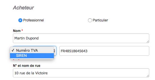 Numéro Identification Fiscale Contact Choix Par Défaut