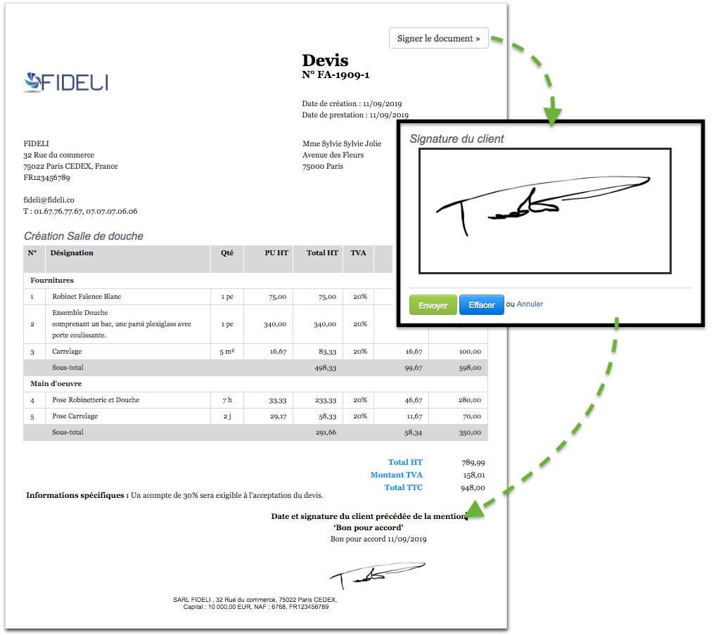 Créer Devis Signature en Ligne Bon pour Accord