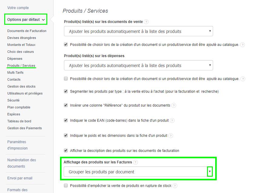Facturation Activation Option Grouper Produits Document Stock