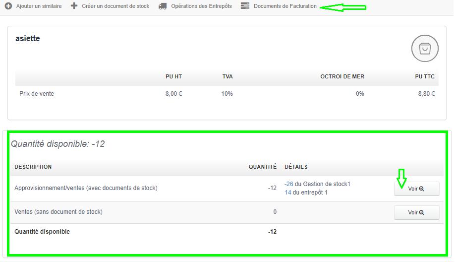 Facturation Renseigner/Modifier Quantité Stock