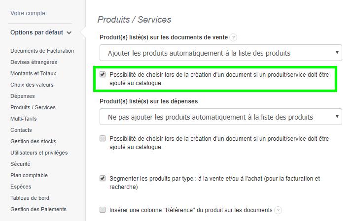 Facturation Ajouter un Produit Catalogue Service VosFactures Vente Revenus