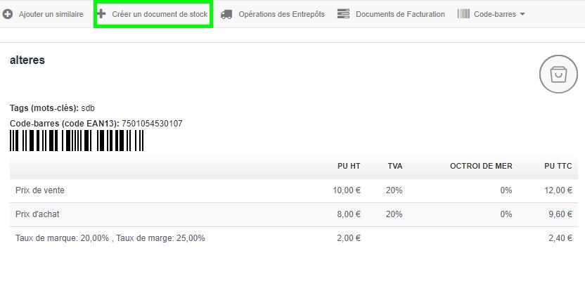 Créer Document Stock Depuis Fiche Produit