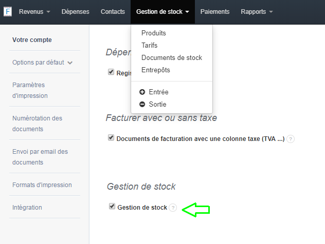 Facturation Activation Gestion Stock Paramètres