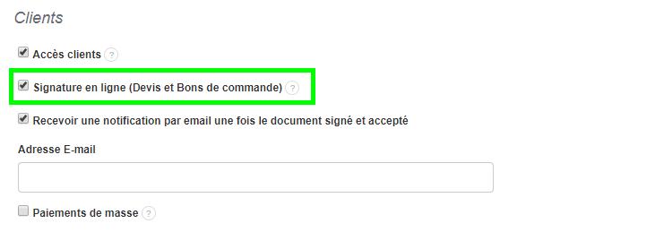 Facturation Signature En Ligne Devis Bons De Commande Option Paramètres