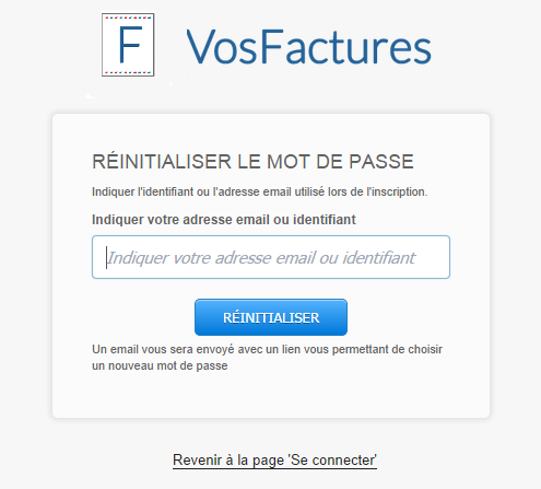 Adresse Email Réinitialiser Mot de Passe Compte Factures