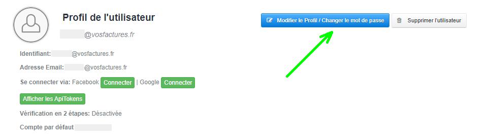 Editer Profil Utilisateur Compte Facture Modification