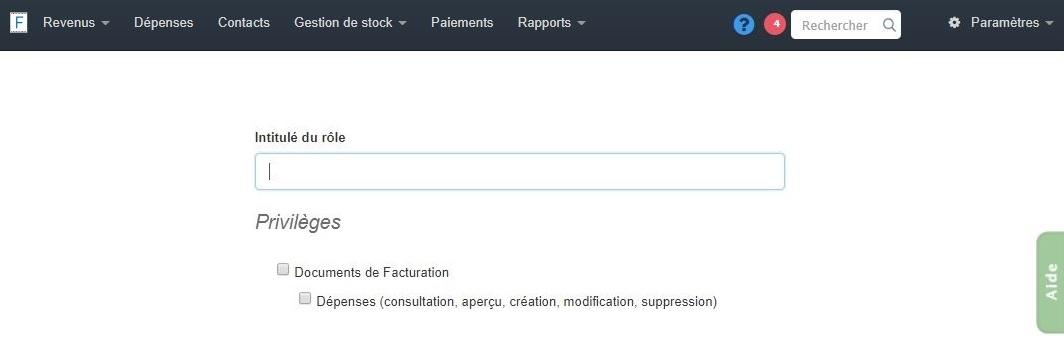 Facturation Rôle Utilisateur Commercial Comptable Administrateur Accès