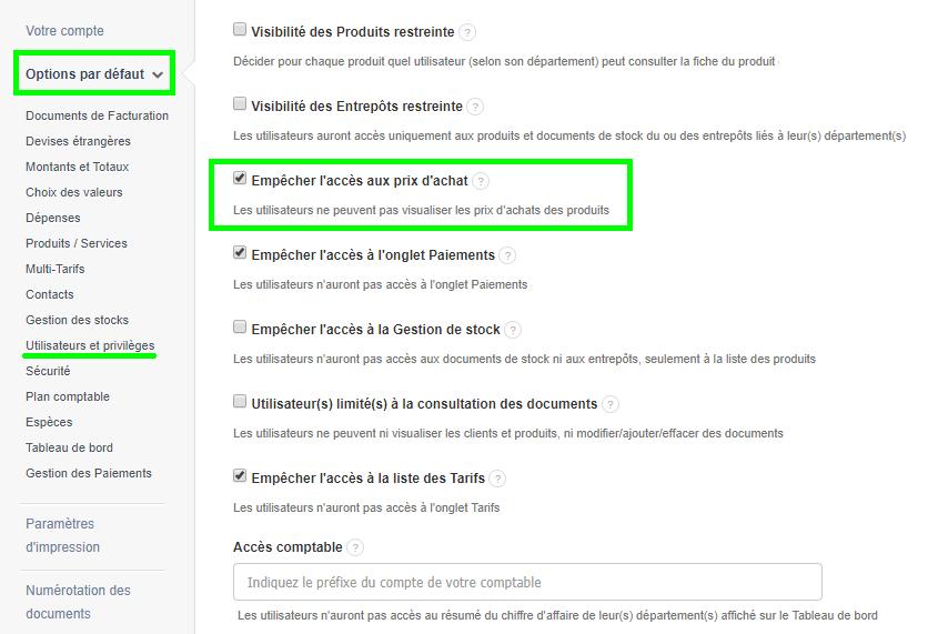 Facturation Accès Utilisateur Commercial Restriction Prix Achat