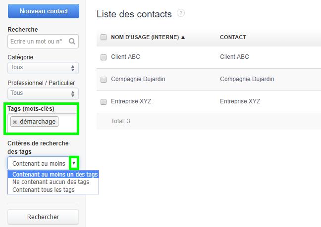 Facturation Tags Recherche Suivi Contact Produit