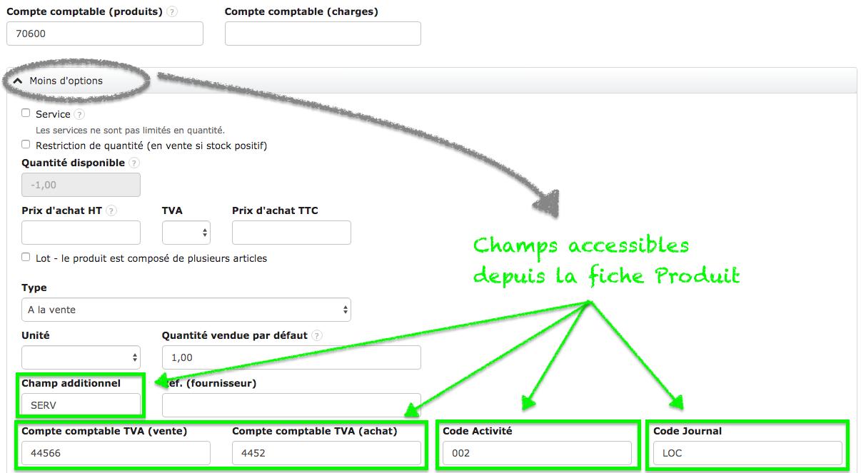 Facturation Choisissez les Comptes Comptables : Export Comptable Sage Analytique