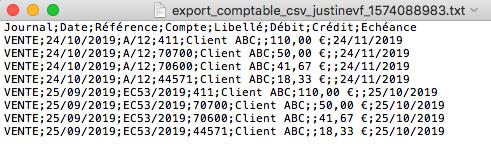 Factures Exports Comptables Journal CSV Logiciel Comptabilité