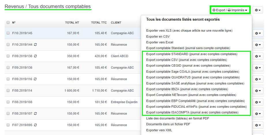 Facturation Export Comptable Documents Comptabilité Logiciel