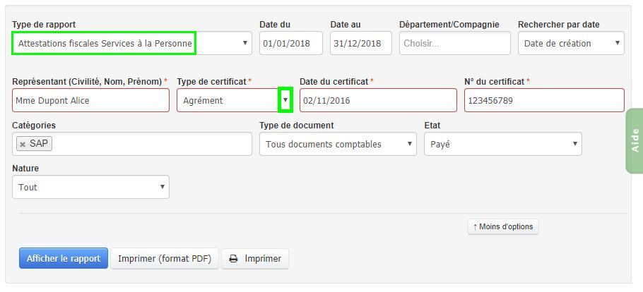 Facturation SAP Service à la Personne Attestation Fiscale