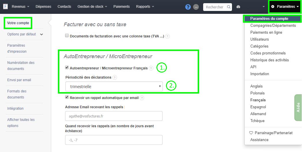Facturation Rapport Autoentrepreneur  Microentrepreneur Déclaration CA Trimestre