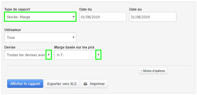 Facturation Rapport Marge CA Stock Produit Article