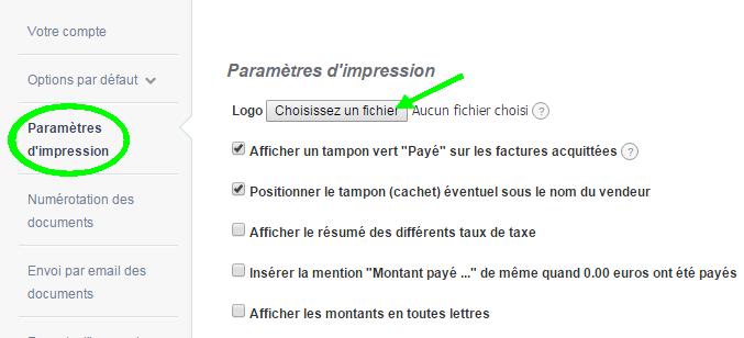 Ajout Logo Paramètres Comptes VosFactures Personnalisation Facturation