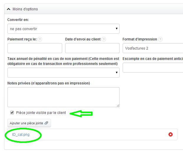 Visible ou Non Visible Attacher Pièces jointes à un Document Fonctionnalités Facturation VosFactures.fr