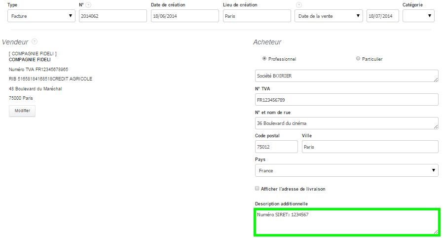 Champs Description Additionnelle Ajout Information Coordonnées Facturation VosFactures
