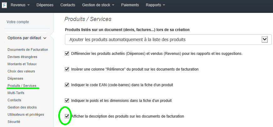 Afficher Description sur Factures Option VosFactures Produits/Services