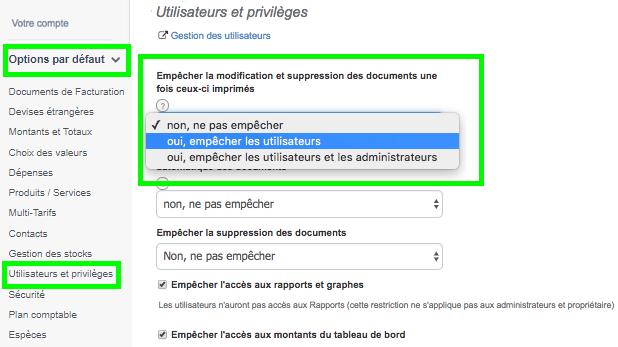 Facture en Ligne Plusieurs Utilisateurs Loi AntiFraude Sécurité VosFactures.fr