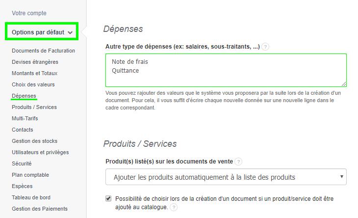 Personnalisation Ajouter Dépenses Facturation Facture VosFactures Documents