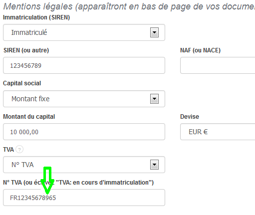 TVA Editer Paramètres Fiche Entreprise Facturation Facture VosFactures
