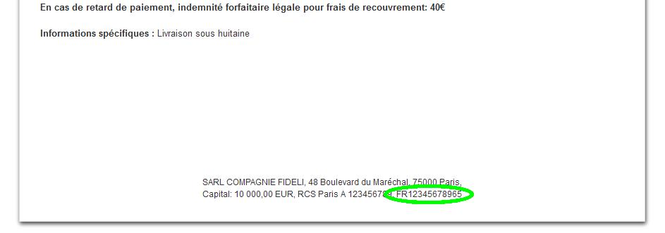 Facture n° TVA Fiche Département Entreprise Personnalisation VosFactures Facturation