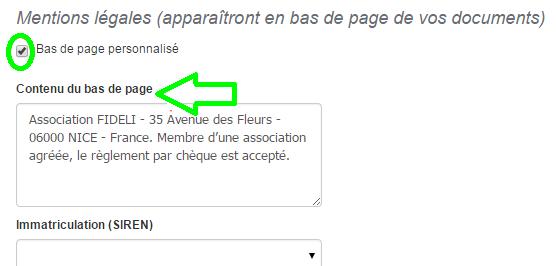 Mention Légales Bas de Page Facturation Personalisation VosFactures