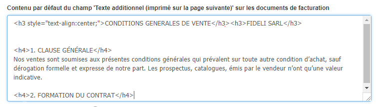 CGV Mentions Légales Texte Additionnel Facturation VosFactures Personnalisation