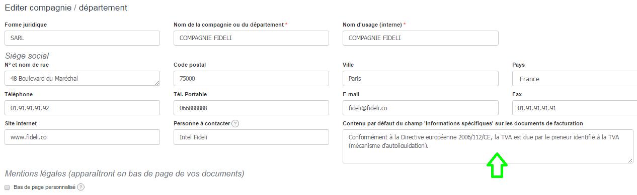 Facture par Défaut Vendeur Edition Facturation Personnalisation VosFactures