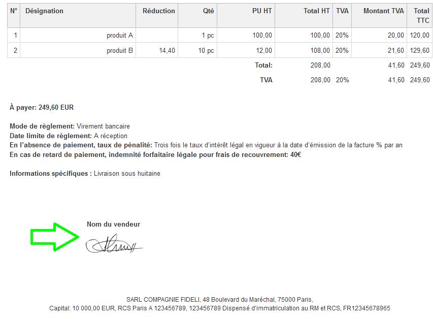 Ajouter unCachetet/ou un Espace Vide pour Signature Facturation en Ligne VosFactures.fr