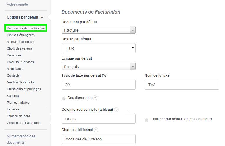 Créer Facture Colonne Additionnelle Facturation HT VosFactures