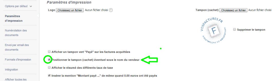 Signature Nom du Vendeur Ajouter Cachet Facturation en Ligne VosFactures.fr