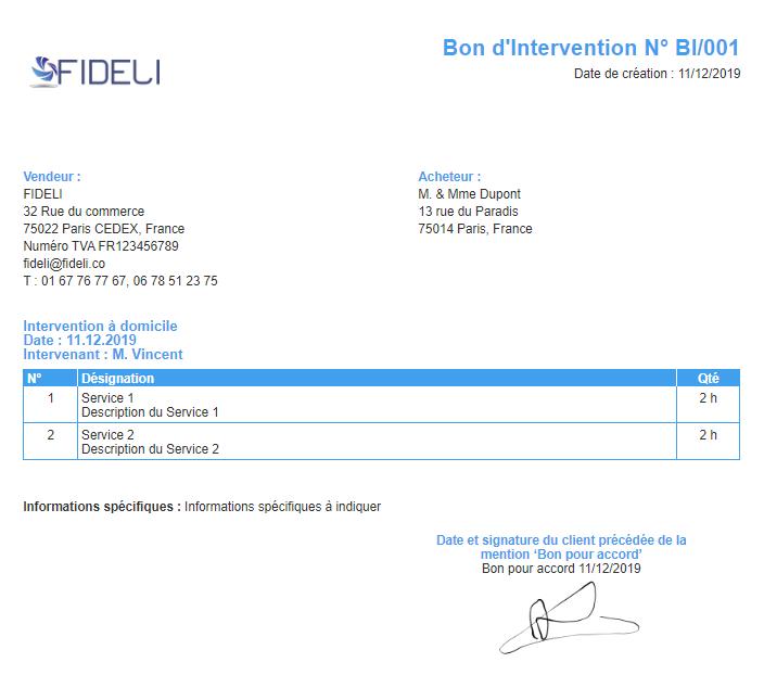 Exemple Bon Intervention VosFactures.fr