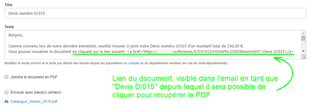 Envoi mail avec Pièces jointes Document Fonctionnalités Facturation VosFactures.fr