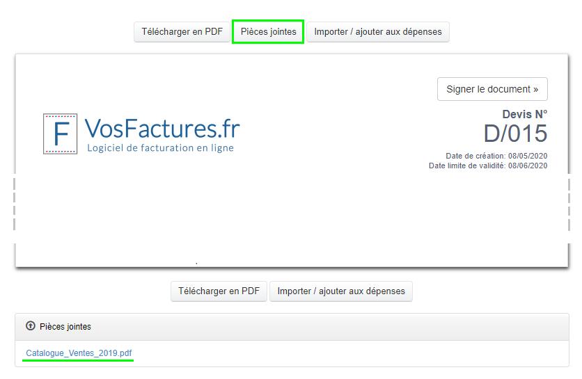 Attacher Pièces jointes à un Document Fonctionnalités Facturation VosFactures.fr