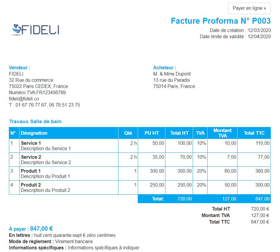 Facturation Proforma Document non comptable Payer en ligne Paiement
