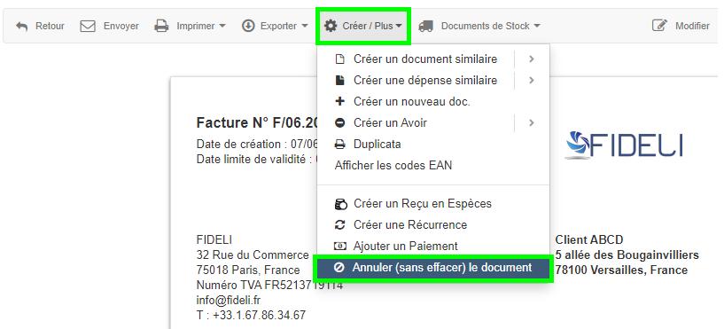 Annulation Document Annuler Facture Tout type de Document VosFactures.fr
