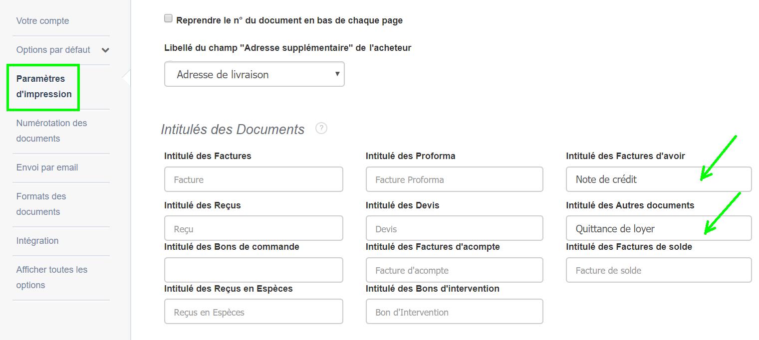 Créer une Facture Facile Personnalisation Logiciel Facturation Intitulé Document