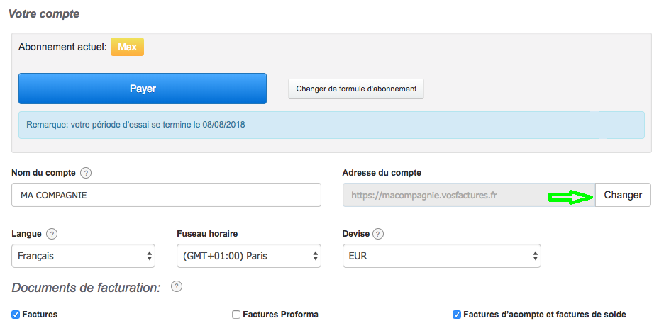 Changer Adresse URL du Compte Personnalisation URL Facturation Personnalisé