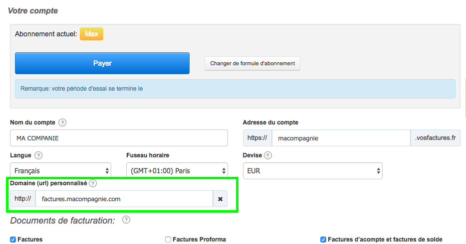 Changer URL Modification Personnalisation Compte VosFactures Facturation