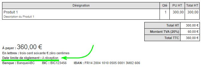 Facturation Date limite de règlement paiement VosFactures