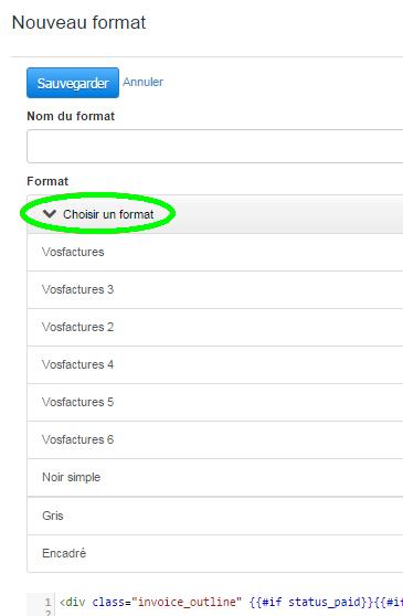 Ajout Format Paramètres Comptes VosFactures Personnalisation Facturation
