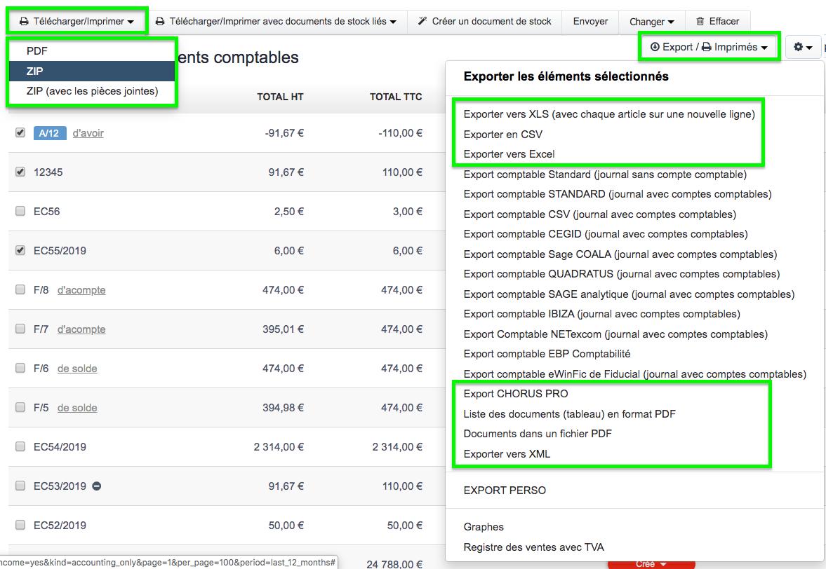 Télécharger Exporter Factures & Devis PDF ou Excel